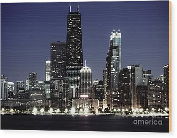 Chicago At Night High Resolution Wood Print by Paul Velgos
