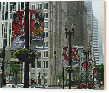 Chicago Blackhawk Flags Wood Print by Ely Arsha