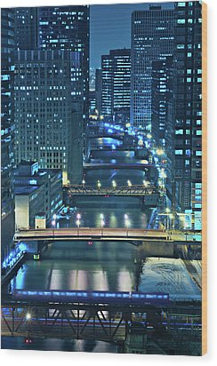Chicago Bridges Wood Print by Steve Gadomski