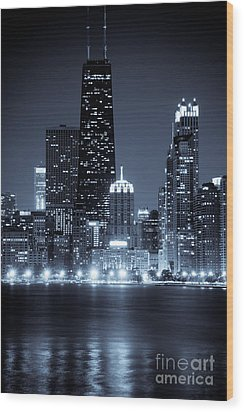 Chicago Cityscape At Night Wood Print by Paul Velgos