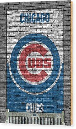 Chicago Cubs Brick Wall Wood Print by Joe Hamilton