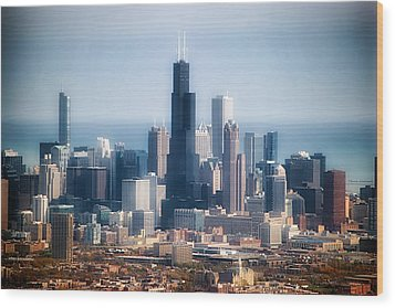 Chicago Looking East 02 Wood Print by Thomas Woolworth