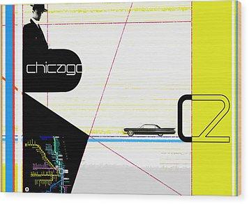 Chicago Wood Print by Naxart Studio