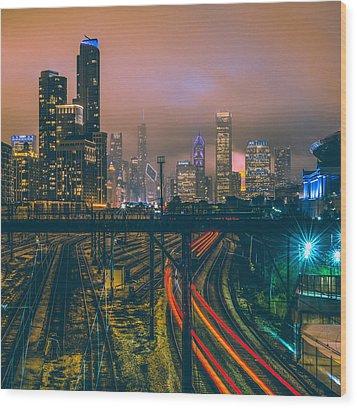 Chicago Night Skyline  Wood Print by Cory Dewald