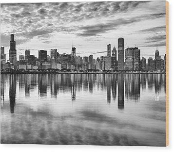 Chicago Reflection Wood Print by Donald Schwartz