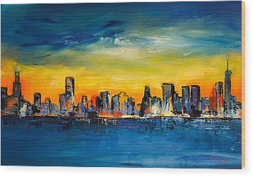 Chicago Skyline Wood Print by Elise Palmigiani
