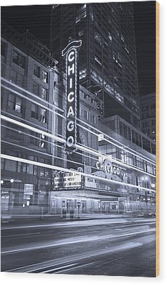 Chicago Theater Marquee B And W Wood Print by Steve Gadomski