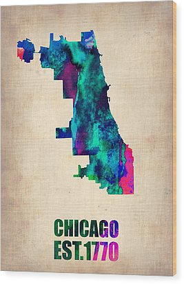 Chicago Watercolor Map Wood Print by Naxart Studio