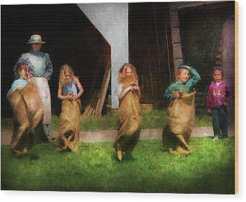 Children - The Sack Race  Wood Print by Mike Savad