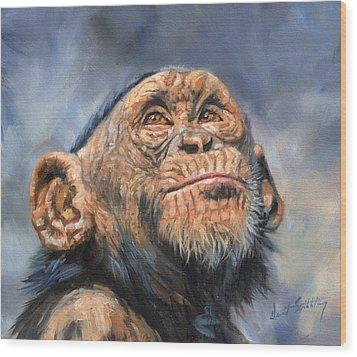 Chimp Wood Print by David Stribbling
