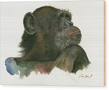 Chimp Portrait Wood Print by Juan Bosco