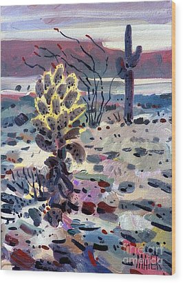 Cholla Saguargo And Ocotillo Wood Print by Donald Maier