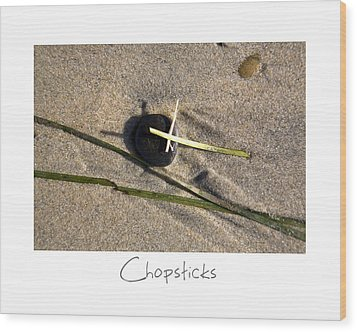 Chopsticks Wood Print by Peter Tellone