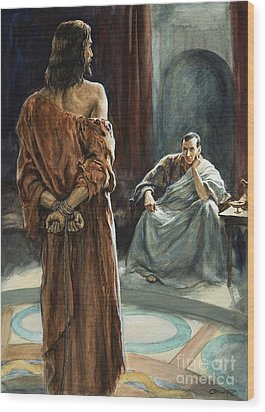Christ In Front Of Pontius Pilate Wood Print by Henry Coller