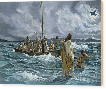 Christ Walking On The Sea Of Galilee Wood Print by Anonymous