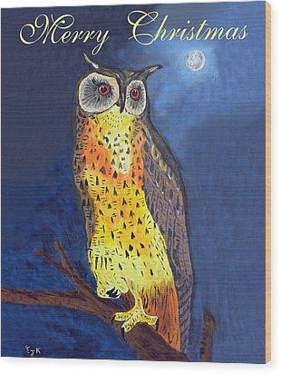 Christmas Owl Wood Print by Eric Kempson
