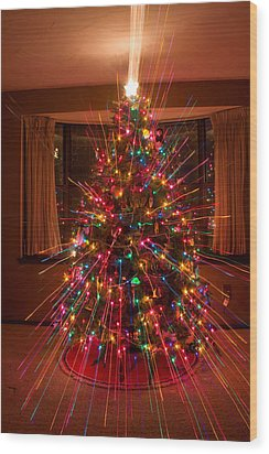 Christmas Tree Light Spikes Colorful Abstract Wood Print by James BO  Insogna