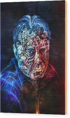 Christopher Hitchens Wood Print by Robert Palmer