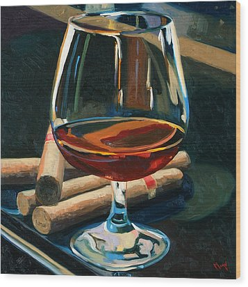 Cigars And Brandy Wood Print by Christopher Mize