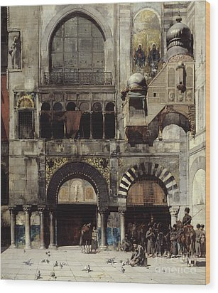 Circassian Cavalry Awaiting Their Commanding Officer At The Door Of A Byzantine Monument Wood Print by Alberto Pasini