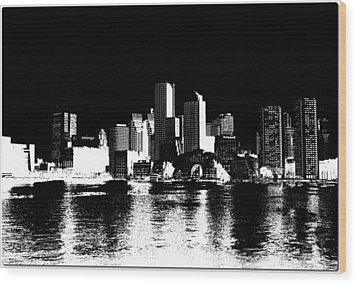 City Of Boston Skyline   Wood Print by Enki Art