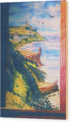City Wall And Sentry Boxes  San Juan Puerto Rico Wood Print by Estela Robles