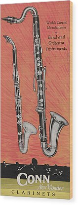Clarinet And Giant Boehm Bass Wood Print by American School