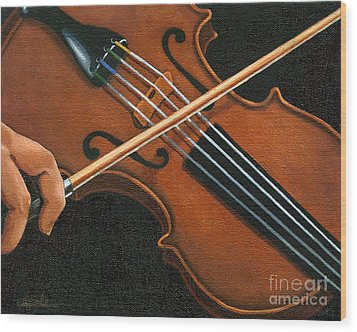 Classic Violin Wood Print by Linda Apple