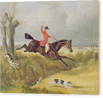 Clearing A Ditch Wood Print by John Frederick Herring Snr