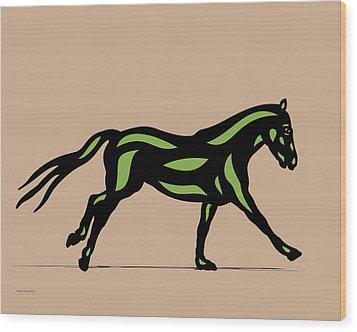 Clementine - Pop Art Horse - Black, Geenery, Hazelnut Wood Print by Manuel Sueess