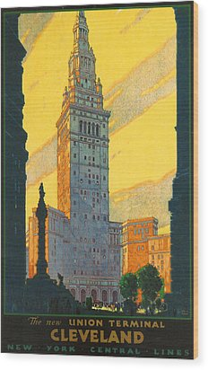 Cleveland - Vintage Travel Wood Print by Georgia Fowler