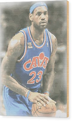 Cleveland Cavaliers Lebron James 1 Wood Print by Joe Hamilton