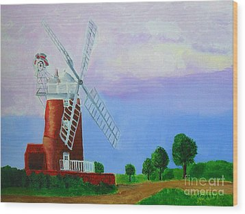Wood Print featuring the painting Cley Mill by Rodney Campbell