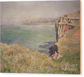 Cliff At Varengeville Wood Print by Claude Monet