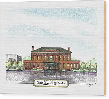 Clinton School Of Public Service Wood Print by Yang Luo-Branch