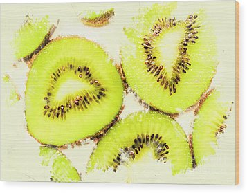 Close Up Of Kiwi Slices Wood Print by Jorgo Photography - Wall Art Gallery