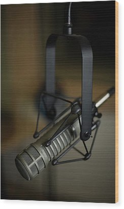 Close-up Of Recording Studio Microphone Wood Print by Christopher Kontoes