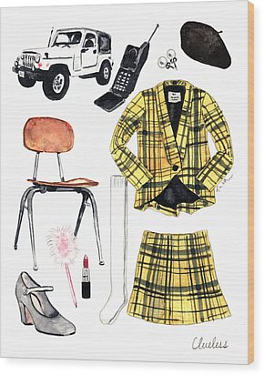 Clueless Movie Collage 90's Fashion Wood Print by Laura Row