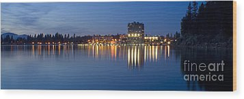 Coeur D Alene Night Skyline Wood Print by Idaho Scenic Images Linda Lantzy