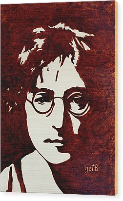 Coffee Painting John Lennon Wood Print by Georgeta  Blanaru