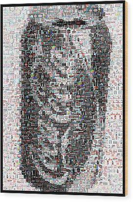 Coke Can Mosaic Wood Print by Paul Van Scott