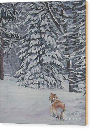 Collie Sable Christmas Tree Wood Print by Lee Ann Shepard