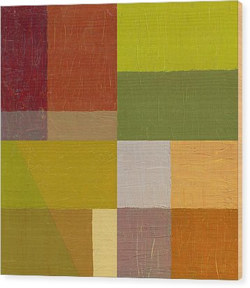 Color Study With Orange And Green Wood Print by Michelle Calkins