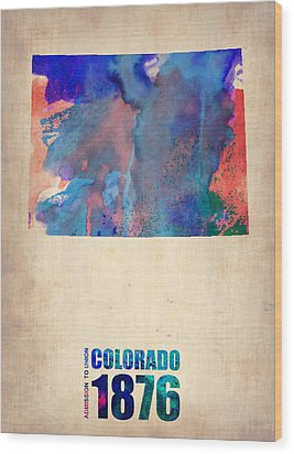 Colorado Watercolor Map Wood Print by Naxart Studio