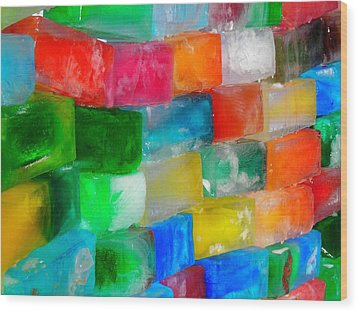 Colored Ice Bricks Wood Print by Juergen Weiss