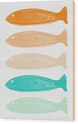 Colorful Fish Wood Print by Linda Woods