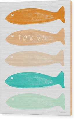 Colorful Fish Thank You Card Wood Print by Linda Woods