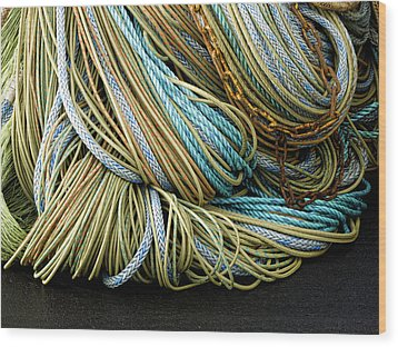 Colorful Pile Of Fishing Nets And Ropes Wood Print by Carol Leigh