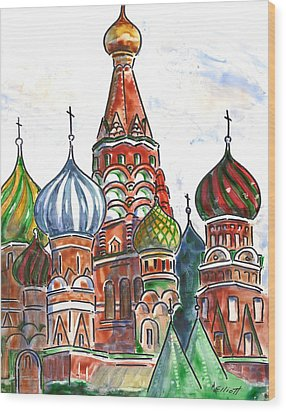 Colorful Shapes In A Red Square Wood Print by Marsha Elliott