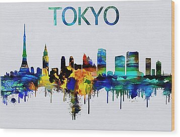 Colorful Tokyo Skyline Silhouette Wood Print by Dan Sproul